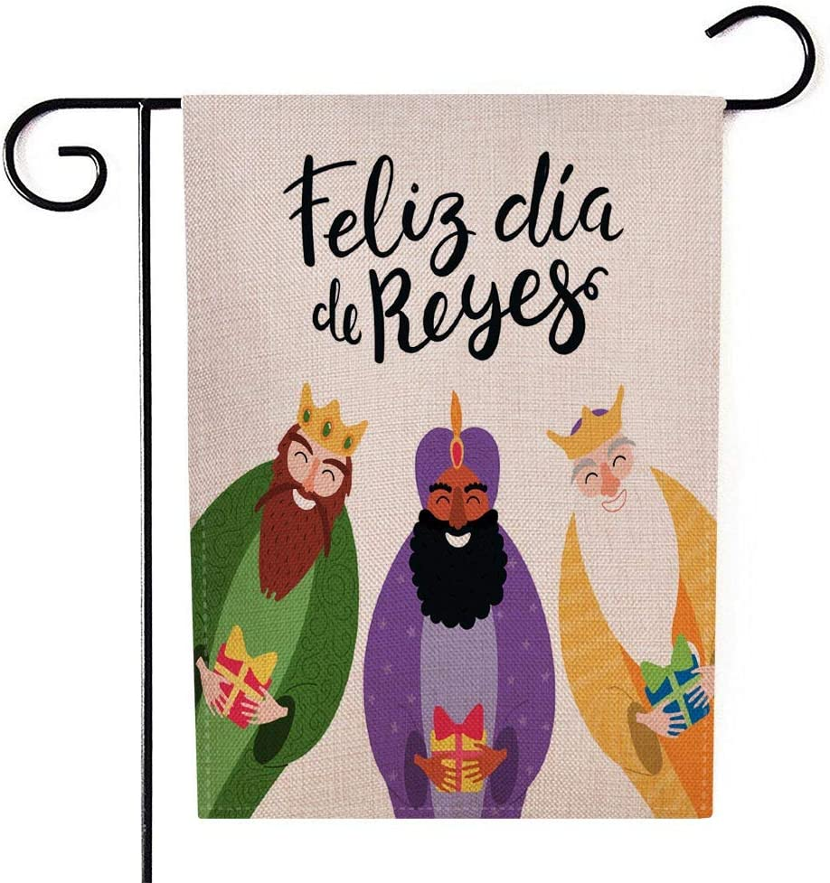 Gesmatic Outdoor Garden Flags, Easter Garden Flag Farmhouse Holiday Banner 12.5 X 18 Inches Three Kings Gifts Spanish Quote De Happy Kings Day Isolated Objects Double-Sided Seasonal Garden Flags
