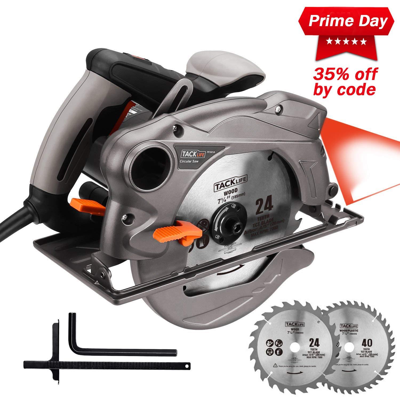 TACKLIFE Sega Circolare, 1500W, 2 lame 185mm (24T e 40T), Guida Laser, Protezione Metallica