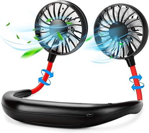 Portable Mini Cooling Fan Desk Handheld Neck Hanging Air Cooler USB Rechargeable