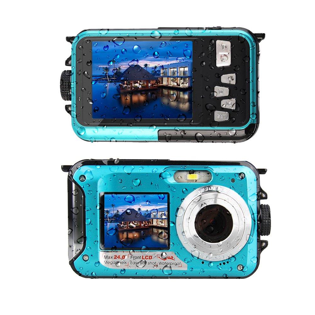 Underwater Camera 24 MP Waterproof Camera Video Recorder FULL HD 1080P Selfie Dual Screen DV Recording Waterproof Digital Camera