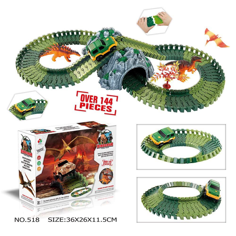 merymall Autorennbahn-Sets, Dinosaurier Spielzeug Bausteine Flexiable Rennstrecke - Kinder pädagogisches Spielzeug