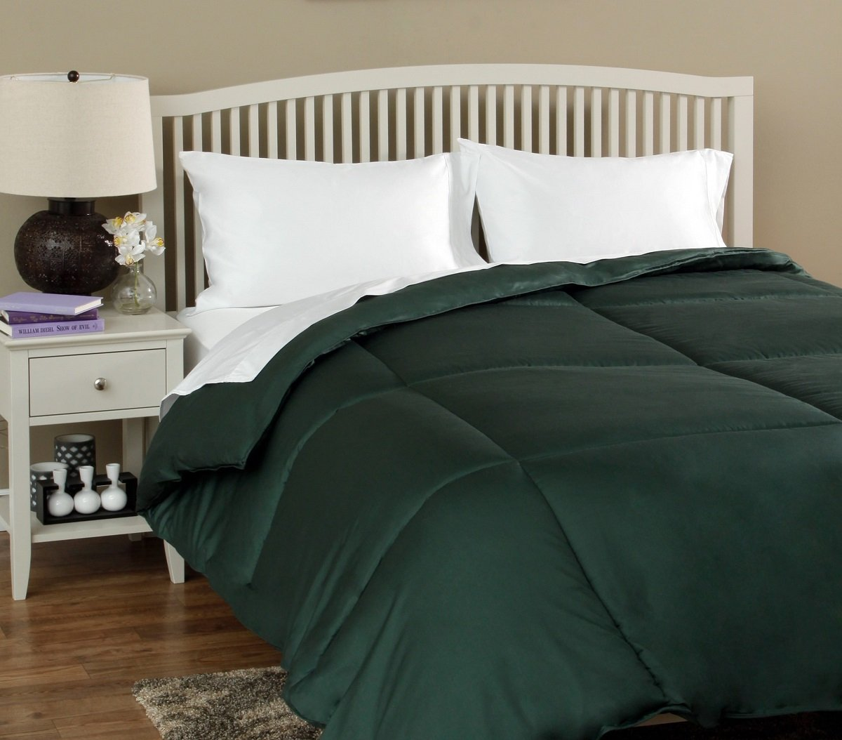 Gorgeous Home DARK GREEN Reversible Down Alternative Comforter Bed Cover Diamond Stitched Solid Plain 2/3PC Set Plush Microfiber Fill Quilt for All-Season (QUEEN)