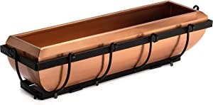 H Potter Window Planter Box Copper Flower Outdoor Plant Container for Windows Attach to House Deck Railing Balcony Long Rectangular Shape 30 Inch Model Gar134