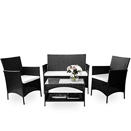 amazon com merax 4 piece outdoor pe rattan wicker sofa and chairs rh amazon com Wicker Rattan Outdoor Furniture pe rattan garden furniture