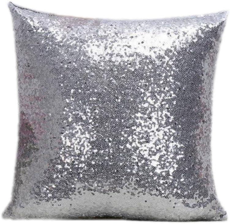 Westeng escluso il cuscino luminose auto e letti 40X40CM argento Federe per cuscini tinta unita decorative per divani