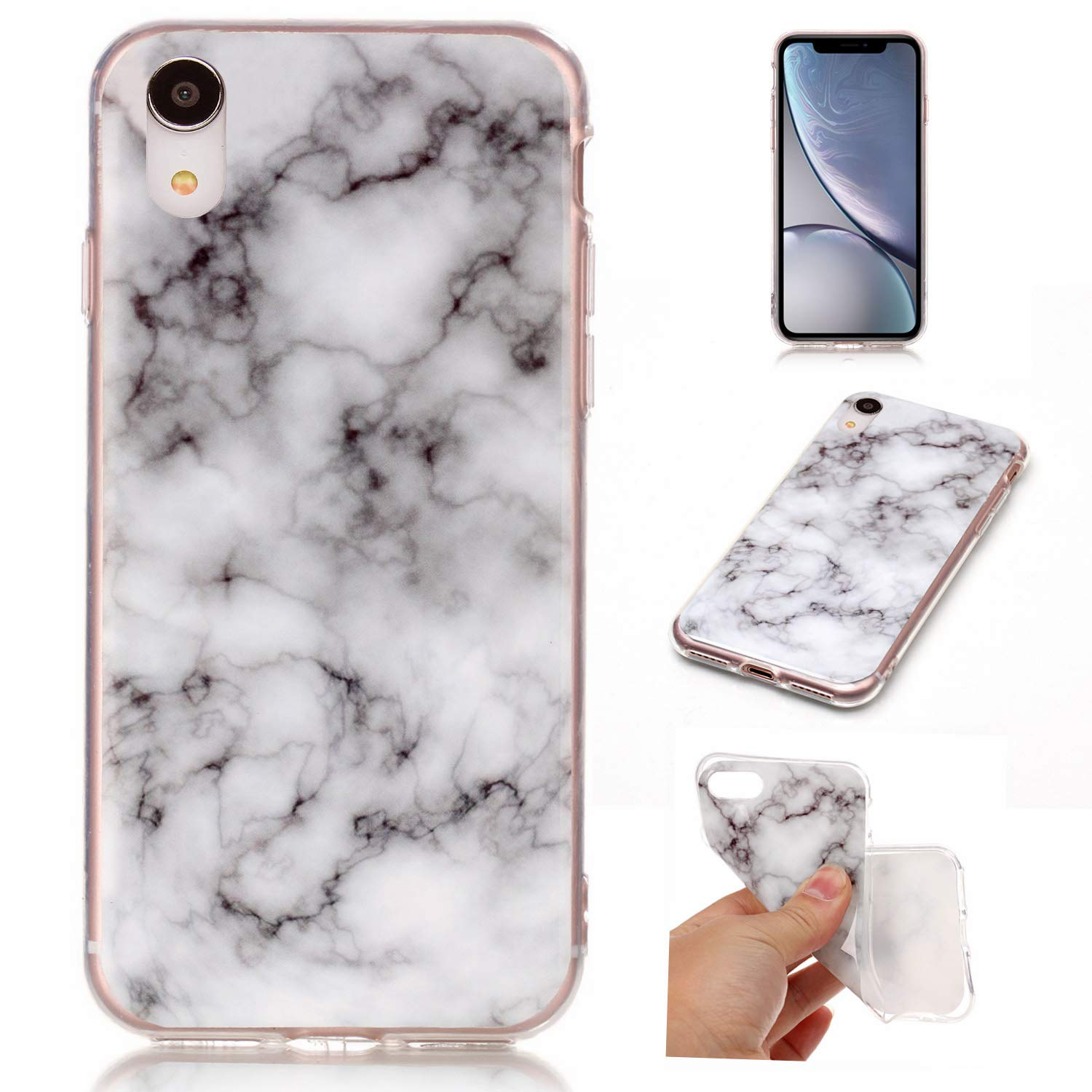 Dailylux iPhone XR Case, Pattern Slim-Fit TPU Clear Bumper Flexible Rubber Silicone Rugged Thin Anti-Scratch Shock-Proof Protective Phone Case Cover iPhone XR-Flower Black