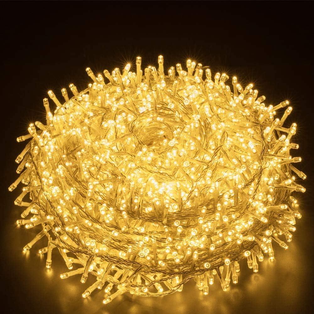 Elegear Luces de Navidad 1000 LEDs 100M Guirnalda Luces Navidad IP44 Impermeable Interior o Exterior con 8 Modos, Decorativas para Navidad,Fiestas,Bodas,Dormitorio,Jardines, Bar(1000LEDs*100M)