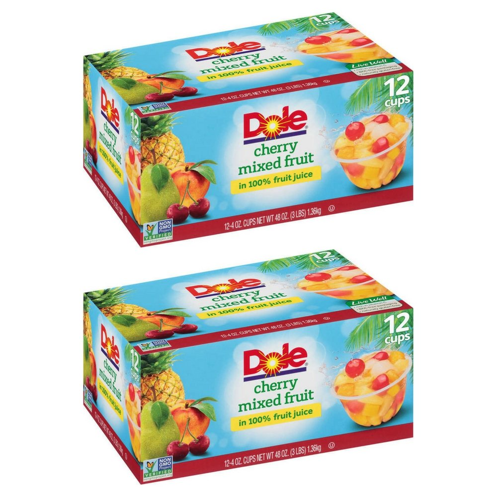 Dole Fruit Bowls, Peaches Mandarin Oranges and Cherry Mixed Fruit, 4 Ounce, 12 Count (2 Pack) by Dole (Image #1)