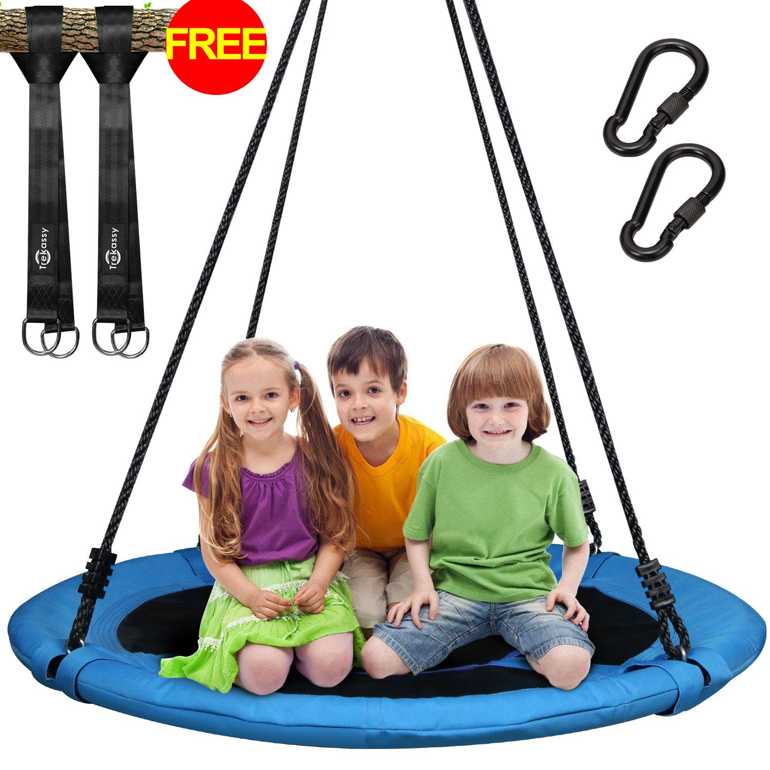 Trekassy 660 lb Saucer Tree Swing Kids Adults 40 Inch 900D Oxford Waterproof Frame Includes 2 Tree Hanging Straps 5ft