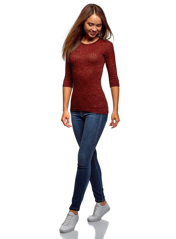 oodji Ultra Damen Gerippter Pullover mit 3//4-/Ärmeln