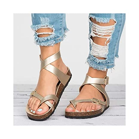 929ada1b4 Amazon.com: Women Flat Sandals Buckle Strappy Sandals Cross Toe Ankle Strap  Cork Sole Leather Flat Sandals: Kitchen & Dining