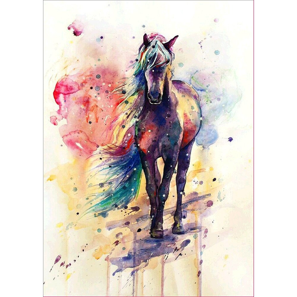 5d Embroidery Paintings Xlala Rhinestone Pasted DIY Diamond Painting Cross Stitch Color Horse Doodle Pattern Printing Hand Painted Sewing Canvas Large Paintings Kits