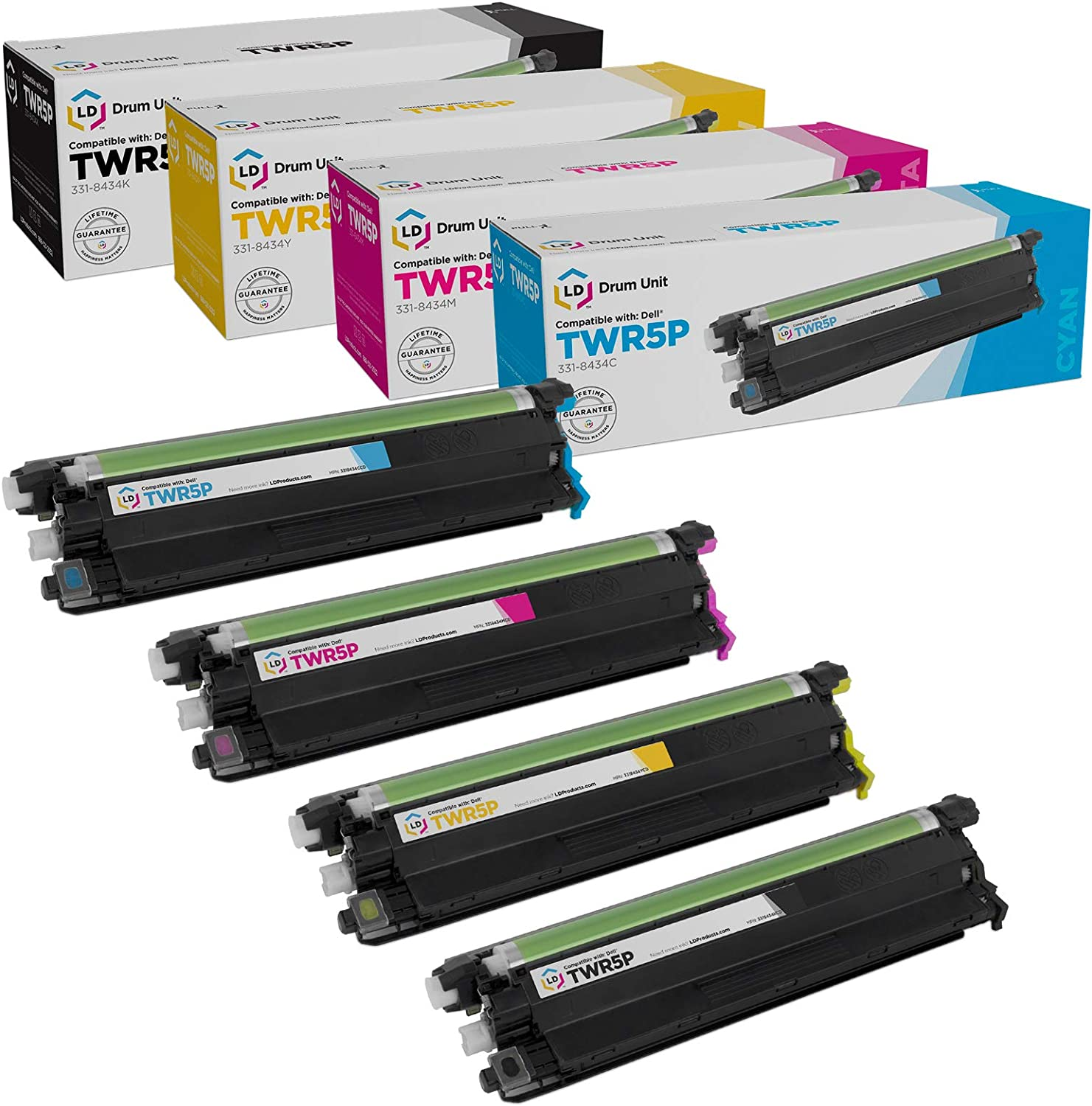 LD Compatible Drum Cartridge Replacement for Dell 331-8434 TWR5P (Black, Cyan, Magenta, Yellow, 4-Pack)