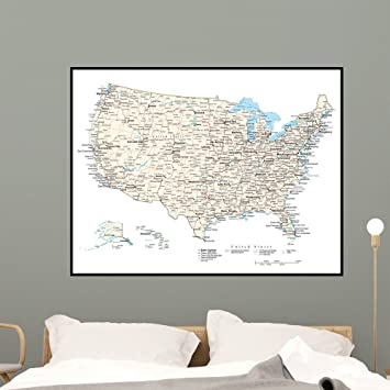 Amazon.com: Wallmonkeys United States America Map Wall Mural Peel ...