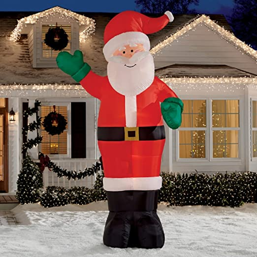 amazoncom christmas inflatable giant 12 waving santa by gemmy garden outdoor - Outdoor Christmas Inflatables