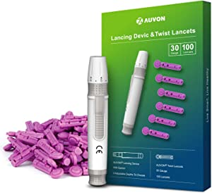 AUVON Lancing Device with Less Pain Design, Blood Sample Pen and Twist Top 100pcs 30 Gauge Lancets for Blood Sugar Level Monitoring and Glucose Testing