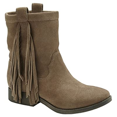 Amazon.com | 70 Post Paris Daniela Tan Suede Ankle Boot with Fringe | Ankle & Bootie