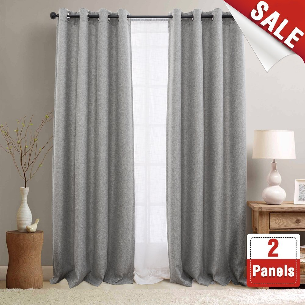 jinchan Textured Linen Curtain Panels Bedroom Drapes Living Room Drapes Thermal Insulated Room Darkening Window Treatment Set, Grommet Top (2 Panels, L108-Inch, Soft Gray)