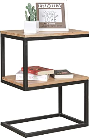Finebuy Table D Appoint Bois Massif Metal Acacia 45 X 60 X