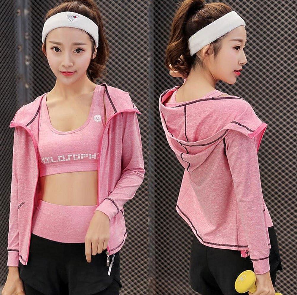 ZETIY Damen 5er-Set Strech Tights Sport Yoga Trainingsanzug Medium, Rosa