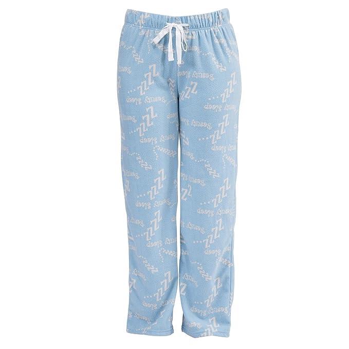 Pantalones de pijama de felpa para mujer con diseño de Beauty Sleep o despertador. (