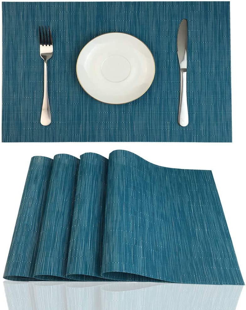Red-A Placemats for Dining Table Heat-Resistant Washable Place Mats Easy to Clean (Set of 4, Blue)