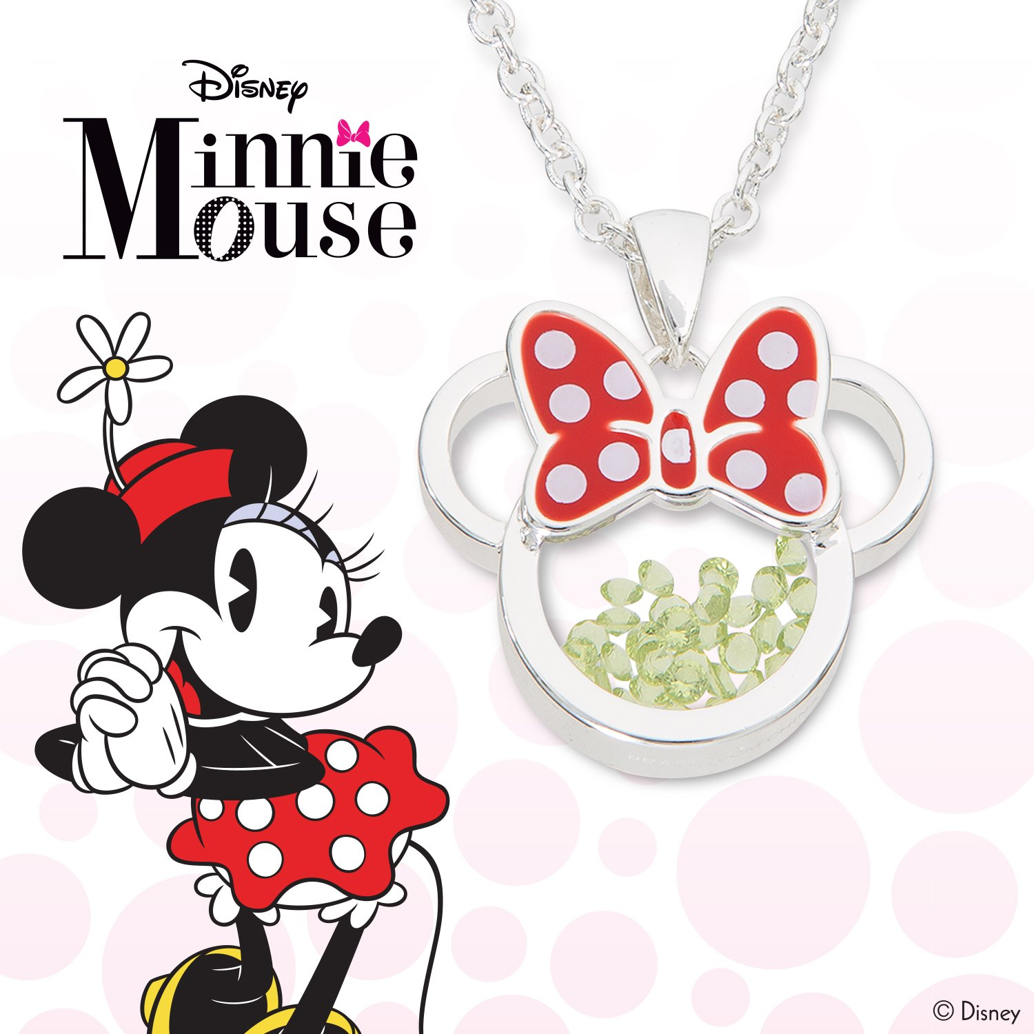 Disney Birthstone Women and Girls Jewelry Minnie Mouse Silver Plated Shaker Pendant Necklace 18+2 Extender