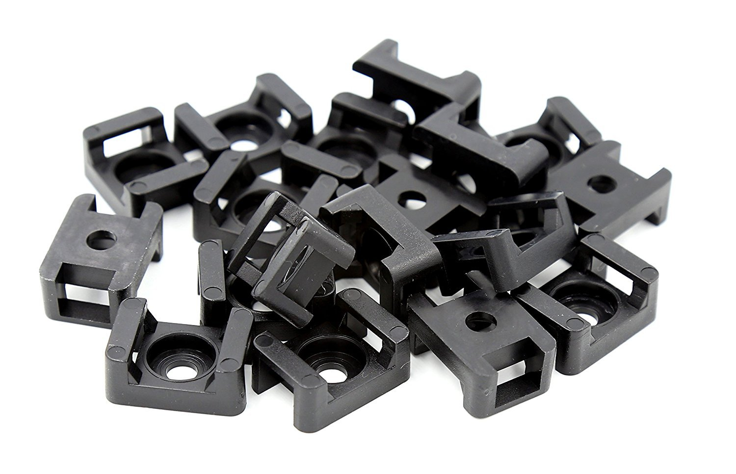 iExcell 100 Pcs Black 9.0mm Width Cable Tie Base Saddle Type Mount Wire Holder