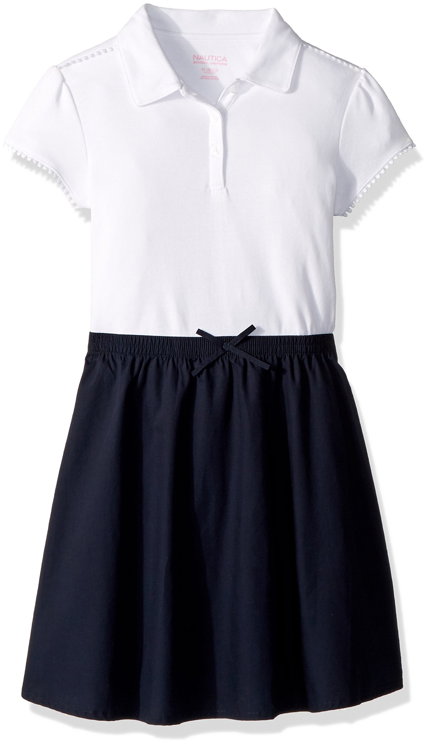 Nautica Girls' Big School Uniform Short Sleeve Polo Dress, Navy pom, X-Large(16)