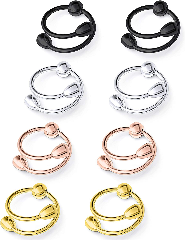 Ftovosyo Non-Piercing Nipplerings for Women Adjustable Fake Nipple Rings Piercings Stainless Steel Faux Nipple Jewelry 2-8PCS