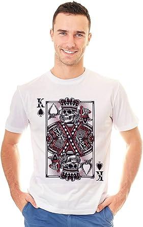 Retreez - Camiseta con diseño de calavera y tatuaje del rey de las espadas: Amazon.es: Ropa y accesorios