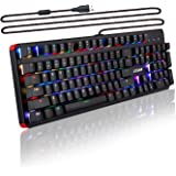 LESHP RGB Mechanical Game Keyboard, RGB Keyboard, Aluminum Frame Mechanical Keyboard, Blue Switches Anti-ghosting 104 Keys Layout Backlit