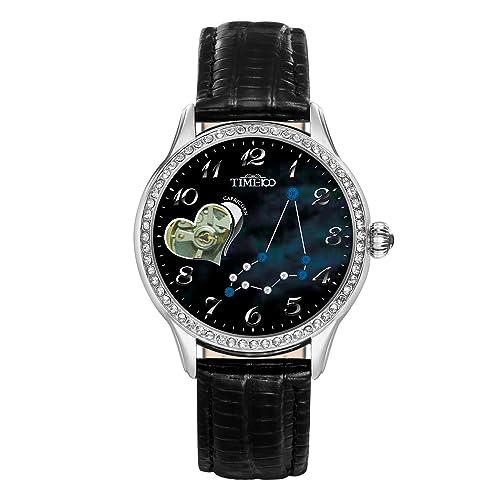 Time100 Sternzeichen-Serie Damen Armbanduhr Mechanische Automatik Leder Steinbock #W60038L.10A