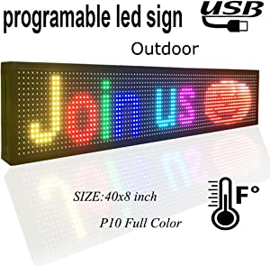 """P10 Outdoor Full Color led Sign 40"""" x 8"""" with high Resolution programmable led Scrolling Display and Perfect Solution for Advertising 1pcs"""