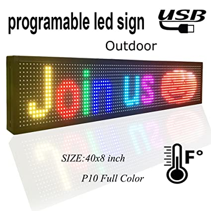 amazon com programmable led sign 40 x 8 outdoor p10 rgb full