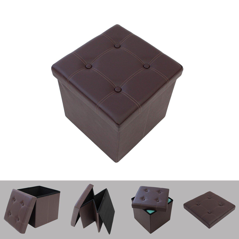 Stupendous Foldable Imitation Leather Ottoman With Storage Brown 38 X Machost Co Dining Chair Design Ideas Machostcouk