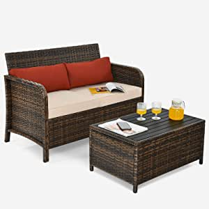 Tangkula 2-Piece Outdoor Rattan Loveseat w/Coffee Table, Sectional Conversation Couch Set w/Cushions & Pillows, All-Weather Patio Wicker Furniture for Backyard Garden Porch Poolside (Beige)
