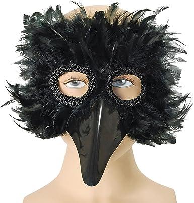 Máscara de ojo de Fancy fiesta Rook de cuervo pájaro de máscaras de Navidad con correa