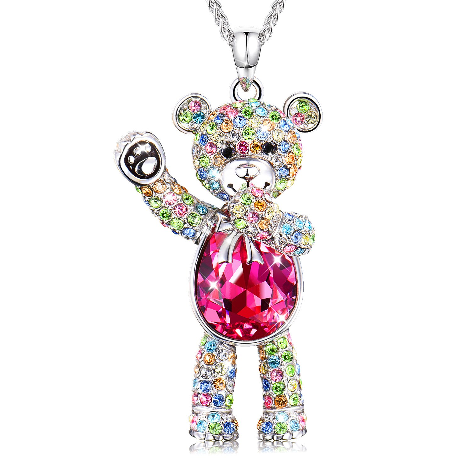 f6dbbd8c3586c8 Conmisun Necklaces for Women Girls Crystals from Swarovski Pendant Cute Teddy  Bear Guards Your Love, Jewelry Gifts Anniversary Birthday Friendship  Blue&Ruby