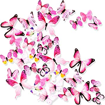 Amazon Com Ewong Butterfly Wall Decals 36pcs 3d Butterflies Home Decor For Room Wall Sticker For Girls Room Kids Bedroom Bathroom Baby Nursery Decoration Pink Kitchen Dining