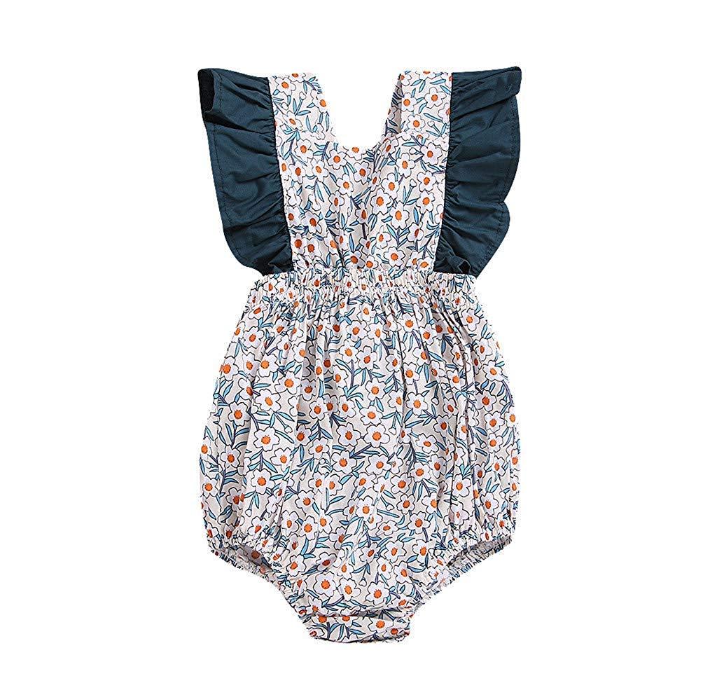 Fashion New Newborn Infant Girl Bodysuit Baby Vintage Floral Ruffles Halter Romper Sunsuit Outfit Princess Clothes Navy 3-6 M