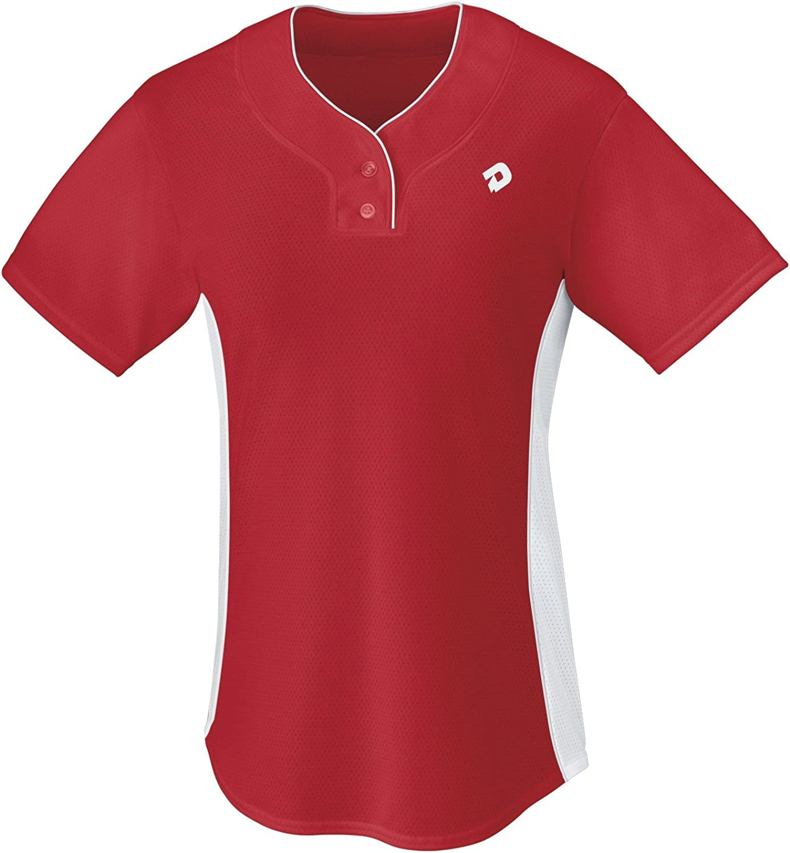 Scarlet Medium DeMarini Womens T600 2-Button Athletic Feminine Fit Placket Pullover