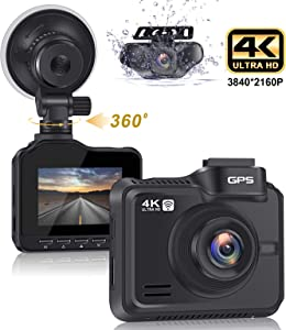 "Lifechaser Dual Dash Cam 4K+1080P Front and Rear Car Camera 3840x2160P 8MP CMOS, WiFi, GPS, Night Vision, 2.4"" IPS, 170° Wide Angle, Parking Mode, WDR, Time Lapse, G-Sensor for Cars, Truck"