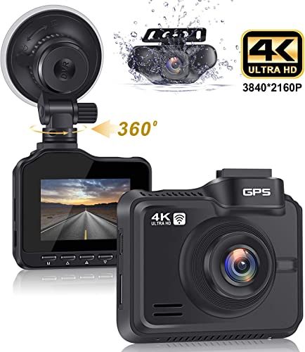 Lifechaser Dual Dash Cam 4K 1080P Front and Rear Car Camera 3840x2160P 8MP CMOS, WiFi, GPS, Night Vision, 2.4 IPS, 170 Wide Angle, Parking Mode, WDR, Time Lapse, G-Sensor for Cars, Truck