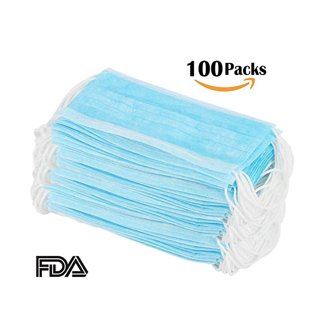 100 Pcs Disposable Earloop Face Masks Dental S...