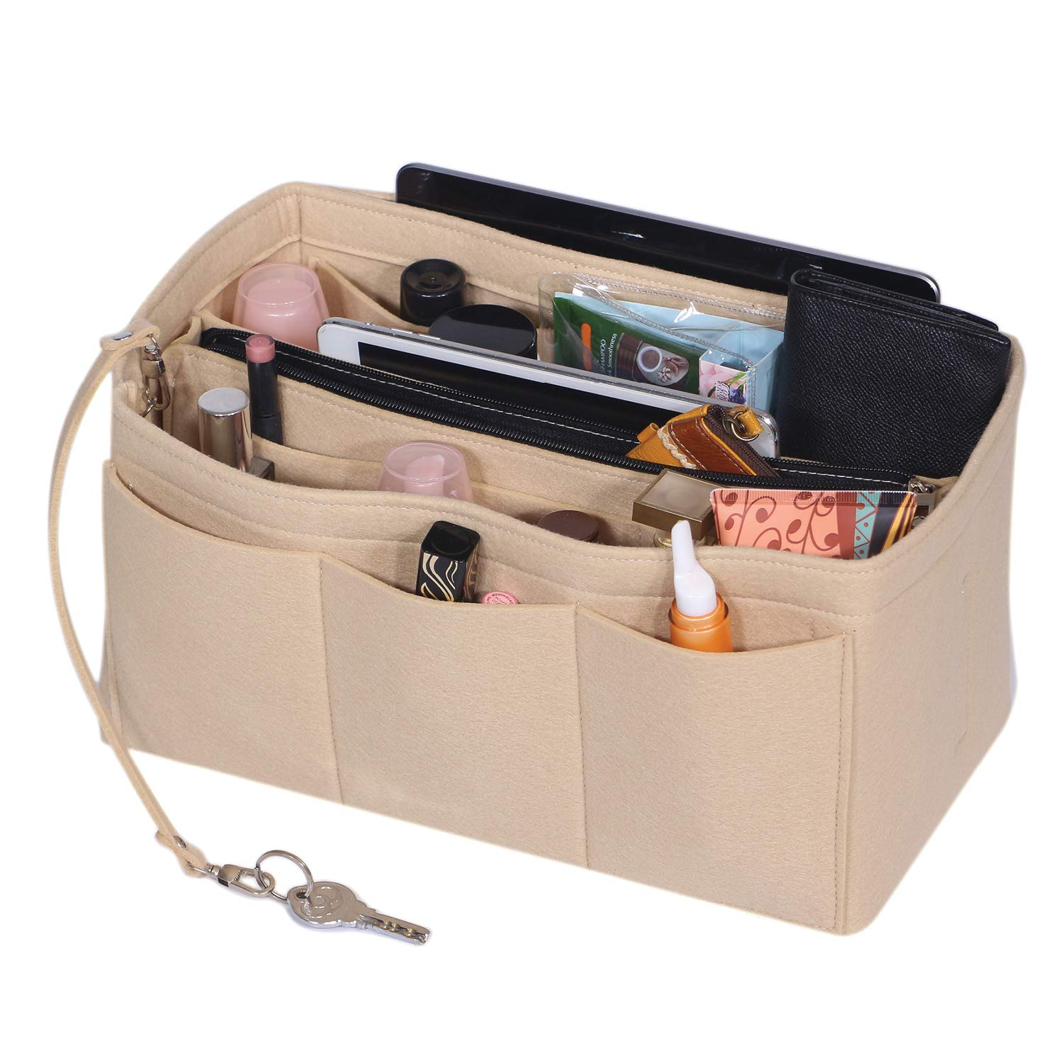Felt Purse Organizer Insert Handbag and Tote Shaper with Zipper Bag in Bag Fit Speedy Neverfull Longchamp Tote X-Large