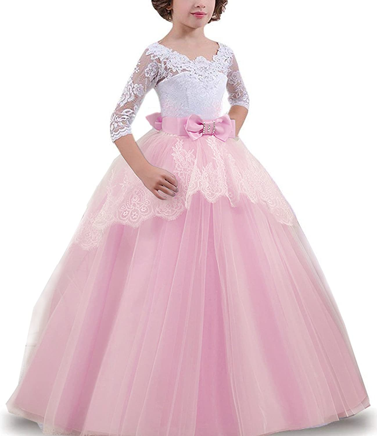 TTYAOVO Girls Lace Backless Ball Gowns Chiffon Flower Princess Pageant Party Dress