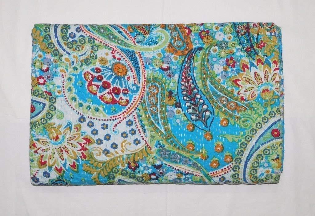 King Size Kantha Quilt, Kantha Blanket, Bed Cover, Bedspread, Bohemian Bedding 90 * 108