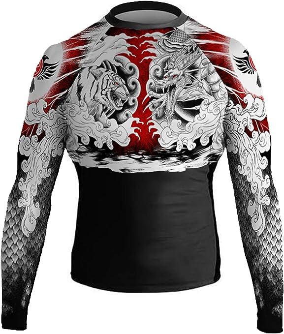 Raven Fightwear Mens White Dragon Long Sleeve BJJ MMA Rash Guard
