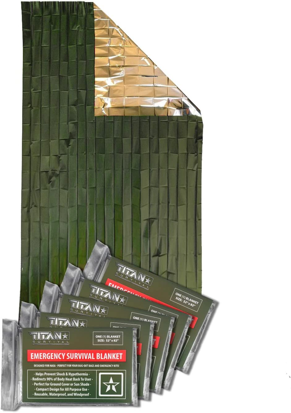 Titan Survival's Two-Sided Emergency Mylar Survival Blankets, 5-Pack (Olive-DRAB)